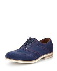 Donald J Pliner Clay Suede Lace Up Oxford Navy