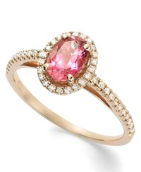 Macy's 14K Rose Gold Ring Pink Tourmaline 3 4 Ct. T.W. And Diamond 1 5 Ct. T.W. Ring