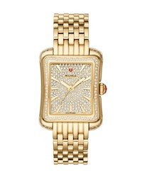Michele 16Mm Deco Moderne Diamond Pave Watch Gold