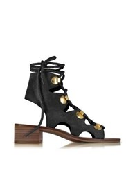 See By Chloe Chlo Black Suede Lace Up Flat Sandal Shoe