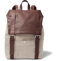 Brunello Cucinelli Canvas And Grained Leather Backpack Tan