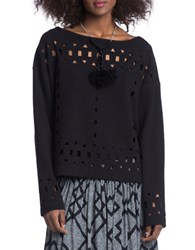 Plenty By Tracy Reese Eyelet Pullover Top Black