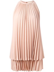 Sara Battaglia Pleated Dress Pink Purple