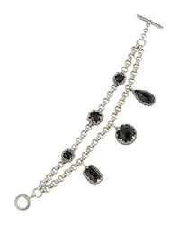 Konstantino Silver And Onyx Double Chain Bracelet Black
