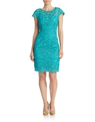 Patra Lace Overlay Sheath Dress Jade