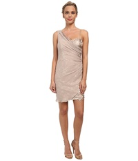 Alejandra Sky Short Sequin Dress W Shirred Overlay Champagne Women's Dress Gold