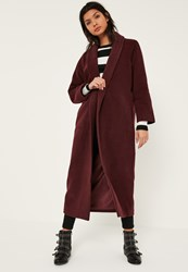 Missguided Brown Shawl Collar Faux Wool Maxi Coat