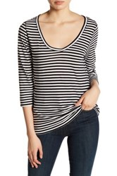 14Th And Union Striped 3 4 Sleeve Tee Multi