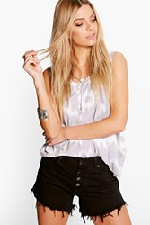 Boohoo Button Fly Mid Rise Denim Hotpants Black