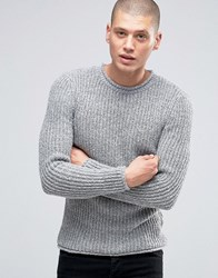 New Look Waffle Knit Jumper With Roll Hem In Grey Marl Grey