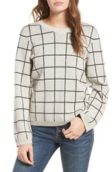 Madewell Women's Windowpane Laced Back Pullover Sweater