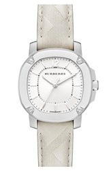 Burberry The Britain Check Stamped Leather Strap Watch 34Mm Stone