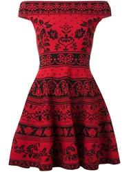 Alexander Mcqueen Floral Jacquard Mini Dress Red