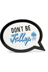 Sophia Webster Speech Bubble Embroidered Leather Clutch White Blue