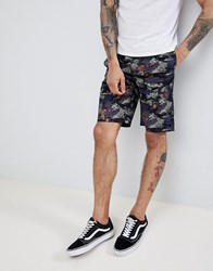 D Struct Printed Summer Co Ord Shorts Black