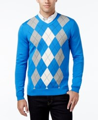 Club Room Men's V Neck Argyle Sweater Only At Macy's Palace Blue