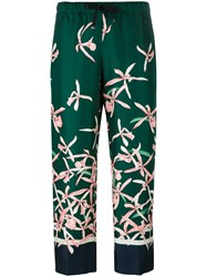 Moncler Floral Print Trousers Green