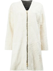 Lanvin Zipped Fur Coat White