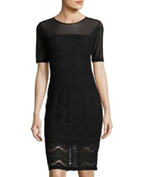 Neiman Marcus Lace Mesh Combo Short Sleeve Dress Black