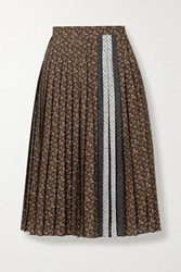 Burberry Pleated Printed Crepe De Chine Skirt Brown