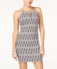 Material Girl Juniors' Printed Lace Up Bodycon Dress Only At Macy's Caviar Black Combo