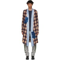 Greg Lauren Orange And Black Plaid Long Kimono