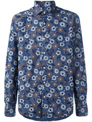 Xacus Floral Print Button Up Shirt Blue