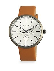 Ted Baker Leather Multifunction Analog Watch Brown