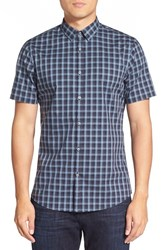 Calibrate Men's Trim Fit Check Short Sleeve Sport Shirt Navy Charcoal Xenon Check