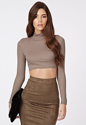 Missguided Ribbed Turtle Neck Long Sleeve Crop Top Taupe