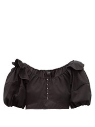 Ellery Hilaria Puff Sleeve Cropped Cotton Top Black