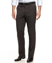 Nautica Flat Front Shadow Plaid Pants Charcoal