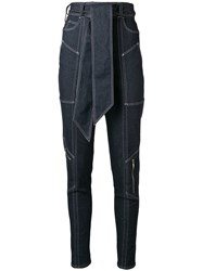Talbot Runhof Belted Tapered Trousers Blue