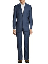 Saks Fifth Avenue Classic Fit Solid Wool Suit Blue