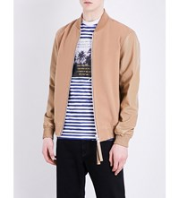 Blood Brother Sand Wool And Leather Bomber Jacket Camel