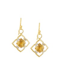 Jude Frances Judefrances Jewelry 18K Champagne Citrine And Gray Diamond Flower Earring Charms Women's