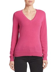 Lord And Taylor Plus Basic V Neck Cashmere Sweater Festival Fuchsia