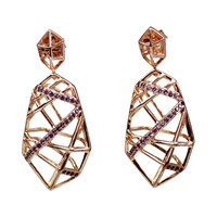 Bellus Domina Hexa Amethyst Earrings Rose Gold