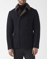Armani Jeans Navy Blue Wool Peacoat With Brown Fur Lining