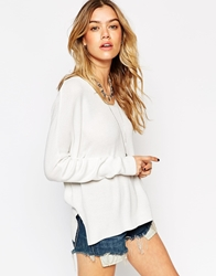 Asos Jumper With V Neck In Rib With Side Splits White