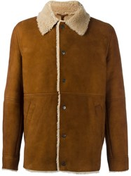 Palm Angels Sheepskin Coach Jacket Brown