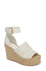 Marc Fisher Ltd Alina Espadrille Wedge Sandal White White Leather