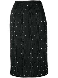 Thom Browne Pearl Embroidered Pencil Skirt Black