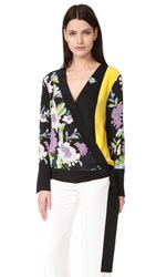 Diane Von Furstenberg Cross Over Blouse Crz On Blk Ceres Bk Mim Yw Bl