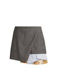 Toga Layered Checked Wool Mini Skirt Grey