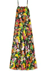 Dodo Bar Or Dorothy Tiered Floral Print Cotton Voile Maxi Dress Black
