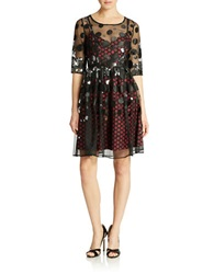 Plenty By Tracy Reese Dotted Net Cocktail Dress Black Red