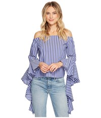 Bishop Young Gigi Sleeve Detail Top Blue White Stripe Clothing Navy