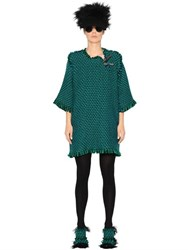 Gianluca Capannolo Fringed Wool Twill Dress