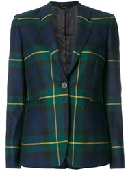 Paul Smith Tartan Fitted Blazer Cupro Wool Blue